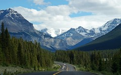Back to the mountains (Kim's Pics :)) Tags: jasper alberta mountains snow beauty peaks trees landscape highway motorcycles clouds view stunning nature summer valley breathtaking canada