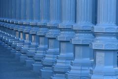 Perspective (In Explore) (remiklitsch) Tags: 3000v120f urbanlights columns architecture lamppole streetlight museum la pattern nikon remiklitsch blue miksang lacma urbanlight art sculpture