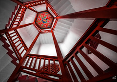 China Red (jgaosb) Tags: jaygao china red hunan forest spiral stair interior dragon ceiling tower ancient traditional stairs white wood structure interesting famous best most beautiful romantic cute