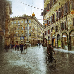 Yes, even in the rain (pongo 2007) Tags: florence firenze tuscany italy street rain bicycle nokia7plus pongo2007 texture xmas decorations