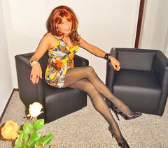 orange and orange (Katvarina) Tags: longlegs legs crossdress crossdresser crossdressing transgender transgirl tranny trannie transpeople kat metrosexuality genderfluid