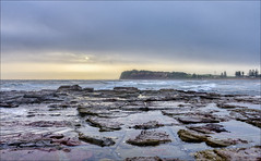 Someone forgot their set of colours (JustAddVignette) Tags: australia clouds cloudy cloudysunrise collaroy fog landscapes newsouthwales ocean rocks seascape seawater sky sunrise sydney water
