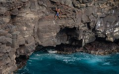 hanging on (Will Montague) Tags: ocean daring risk climb southpoint hawaii sea cliff