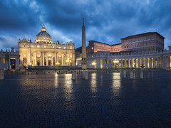 St. Peter's Basilica (v-_-v) Tags: rome vatican city blue hour petersdom stpeters cathedral church italy basilica europe cityscape dawn rain reflection