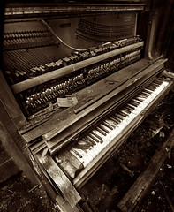 De-Composing (Greg Adams Photography) Tags: piano abandoned abandonedamerica workshop pennsylvania pa decay ruined instrument weathered sepia monochrome hhsc2000 keys strikers forgotten carriefurnace 2016
