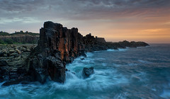 Bohemian Rhapsody (Emerald Imaging Photography) Tags: bombo bomboquarry rocks seascape sea waves swell cloud clouds kiama sunrise sunset sydney wollongong newsouthwales nsw australia australian australianlandscape australianseascape sunlight water waterfall flow