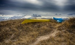 Winter in the Dunes (Bud in Wells, Maine) Tags: drakesisland maine wells boats canoes clouds dunegrass dunes kayaks moody path winter hdr niksoftware