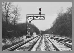 The Quiet Time at Kelsey. B&LERR (bobchesarek) Tags: blerr bessemerlakeerie signals blocksignal cantileversignal railroad rural trains cn canadiannational selectivecolor blackwhite