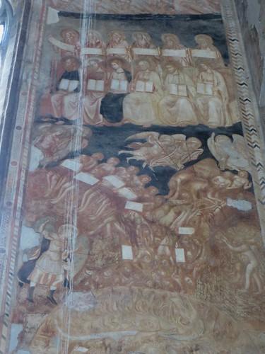 """""""L'Enfer"""", fresque (XIVe), chœur des religieuses, ancienne église gothique de Santa Maria Donnaregina Vecchia, Naples, Campanie, Italie."""