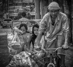Staring (Beegee49) Tags: street pedicab transport public shopping filipina smiling rider cycling staring sony a 6000 blackandwhite monochrome bw bacolod city philippines asia happyplanet