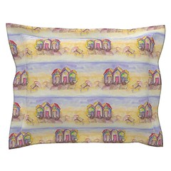 BEACH HUTS BRIGHT AND SUNNY WATERCOLOR AND INK pillow sham by paysmage (paysmage) Tags: cushion pillow pillowcase throwpillow coussin oreiller taie taiedoreiller paysmage fabric spoonflower roostery beach huts beachhuts vacation european seamless seashore summer summertime watercolor painted sunny sea ocean yellow blue pink pattern striped border fabrics design designers designer parasol towel beachtowel cotton collection coordinates colorways multicolor happy polyester pod print printondemand upholstery textile tissu stoff