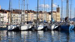 La Ciotat Harbor / Five sailboats (Pantchoa) Tags: laciotat port vieux voiliers bateaux eau maisons façades mer méditerranée côte côtedazur portdepêche cinq ciel nuages musée provence reflets mâts