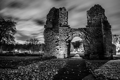 Dudley Priory_M-8810 (timbertree9) Tags: greyscale blackandwhite monochrome mono colour dudley dudleycouncil westmidlands priory sky skyatnight architecture historic ruins eng unitedkingdom central hdr dark darksky stars clouds lighting shadows stone
