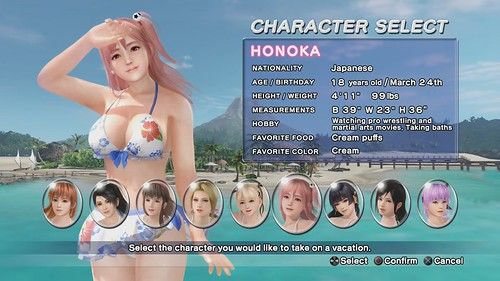 Dead or Alive Xtreme 3: Fortune Roster Selection