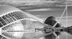 B&W1 (.stuart hamilton) Tags: bw blackandwhite science park museu meseum valencia spain arch dome reflection water agua pool clouds sky