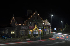 Lydney town hall (Roger.C) Tags: lydney townhall town gloucestershire forestofdean night evening dark nikon d610 35mm lighttrails lights starbursts roads buildings victorian architecture longexposure