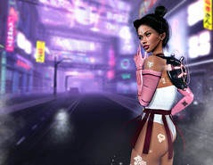 there's no time to lose (UGLLYDUCKLING Resident) Tags: secondlife sl avatar avi girl brunette cute cyber scifi kawaii scenery city road street ultrafiolet ultra futuristic ugllyduckling blogger genus maitreya level levelevent chapterfour creatica queenz rossi momoko fashion style ootd