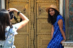 Instafriends (Pedestrian Photographer) Tags: girls women insta taking pictures wall door colorful hat blue dress posing photography model modeling city palace jaipur instagram again ig gram