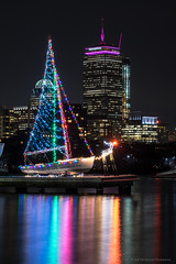 Christmas sailboat (alohadave) Tags: autumn charlesriver clearsky effects fall flowing massachusetts night northamerica pentaxk3 places river season sky unitedstates water smcpda60250mmf4edifsdm