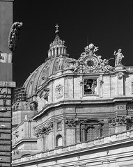 Dome of St. Peter Basilica from Via Paolo VI - Rome - Italy (wooiwoo) Tags: dome monochrome rome stpetersbasilica vaticancity viapaolovi va