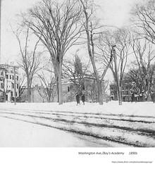 circa 1890  view of Washington Ave, Albany academy, Elk street (albany group archive) Tags: 1890s old albany ny vintage photos picture photo photograph history historic historical
