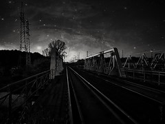 Between day and night (wojciechpolewski) Tags: beautifulnight nightsky darksky night nightphoto nightlandscape nightphotography atnight railwaybridge railway trainbridge oldbridge bridge blacknwhite blackandwhite bnw bw monotone monochromatic monochrome monochromatico wpolewski kedzierzynkozle poland