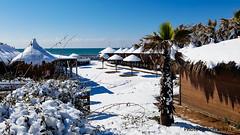 La neve a Roma-The snow in Rome Italy (johnfranky_t) Tags: mare tirreno johnfranky palma neve ombrelloni cespuglio cabine nuvole clouds nubes umbrellas guardachuvas sea mar paraguas