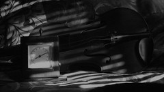 In The Shade (Rand Luv'n Life) Tags: odc our daily challenge thermometer temperature reading violin window blinds shade reflection fabric floral design indoor natural light monochrome blackandwhite