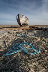 Rope & A Boat (ShrubMonkey (Julian Heritage)) Tags: rope net rubbish discarded nautical decay dereliction abandoned boat clinker hull fishingboat beach shingle romanymarsh coast coastal seaside industry kent