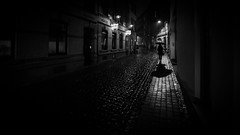 rainy nights (Hendrik Lohmann) Tags: streetphotography street nightshot nikon nikondf night nikonphotographer nightlife urban umbrella blackandwhite bwstreet bnw bw city cologne rain rainynights