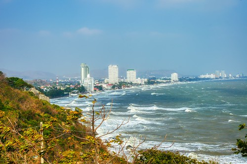 Skyline of Hua Hin with choppy sea seen from Khao Takiab in Prachuap Khiri Khan province, Thailand