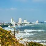 Skyline of Hua Hin with choppy sea seen from Khao Takiab in Prachuap Khiri Khan province, Thailand thumbnail