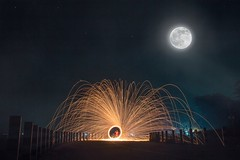 Steelwool under the hazy light of the shiny moon! (ibtihajtafheem) Tags: steelwooldaily steelwool steelwoollandmarks steelwoolphotography moon fullmoon sky skyphotography skyporn night nights stars color road visuals visual canon canon1855mm canon1200d canon18mm photography