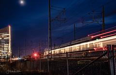 Bladerunner (Fredrik Lindedal) Tags: train tram lights longexpo moon moonlight skyscrape building tracks light night nightshot nightfall nightlights nightphoto city cityscape cityview bladerunner gothenburg göteborg sweden sverige