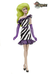 Zebra Starbright Dress by ELENPRIV (elenpriv) Tags: jemandtheholograms pizzazz dress zebrastarbrightdress elenpriv elena peredreeva handmade clothes dollclothes 12inch colorinfusion integrity toys jasonwu doll