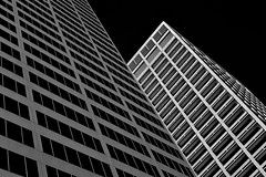 Downtown Houston (infrared) (dr_marvel) Tags: ir infrared houston tx texas architecture building skyscraper lines blackandwhite sky clear black