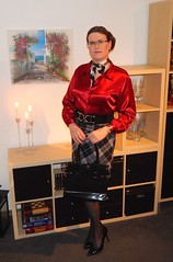 The red blouse... (Rikky_Satin) Tags: silk satin blouse scarf checkered skirt pvc pumps highheels handbag pantyhose shiny nylons crossdressing crossdresser transvestite transformed tgirl tgurl sissy secretary office apparel