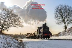 Season's Greetings (4486Merlin) Tags: 52322 eastlancsrailway england europe events exly exlms goodstrain heritagerailways northwest pregroupinglms railways snow steam transport unitedkingdom burrscountryparkbury lancashire gbr christmas