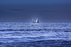 ....sailboats into the blue.... (robertoburchi1949) Tags: colours sea seascape landscape paesaggio mare vele sailboat colori