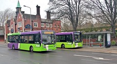 YX63 ZVV & YX66 WCM, Ipswich Buses ADL Enviros 80 & 108, Crown Street, 16th. March 2019. (Crewcastrian) Tags: ipswich buses ipswichbuses transport crownstreet cricketers dennis alexander enviro e200 yx63zvv 80 108 wcm yx66wcm