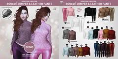 Libellune Bouclé Jumper and Leather Pants Gacha Set @ Cosmopolitan (Marie Sims) Tags: semotion clothing clothes gacha girly maitreya outfit libellune