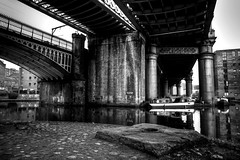 Manchester (Missy Jussy) Tags: manchester castlefield urban city architecture canal rochdalecanal bridgewatercanal bridge railway boat boattrips buildings waterways reflections mono monochrome blackwhite bw blackandwhite outdoor outside 24mm ef24mmf28 canon5dmarkll canon5d canoneos5dmarkii canon