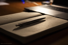 The nicest part is being able to write down all my thoughts and feelings; otherwise, I might suffocate. — Anne Frank (Daryl Luk) Tags: book pen writing journal dark evening notebook light 52smallchanges thoughts