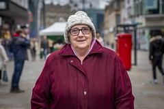 Street Portrait - Newcastle upon Tyne (Leanne Boulton) Tags: independentage newcastle portrait urban street candid portraiture streetphotography streetportrait streetlife eyecontact socialdocumentary oldis old elderly woman female face lady eyes smile smiling happiness mood emotion feeling cold winter beanie colourful tone texture detail depthoffield bokeh naturallight outdoor light shade city scene human life living humanity society culture lifestyle people canon canon5dmkiii 70mm ef2470mmf28liiusm color colour newcastleupontyne england uk