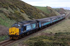 37409 and 37425 2Z37 'The Cumbrian Coast Class 37 Farewell Special' (Cumberland Patriot) Tags: arriva northern trains drs direct rail services kd kingmoor depot carlisle cumbria br british railways ee english electric type three type3 12csvt diesel engine class 37 374 37409 37270 6970 d6970 loch awe lord hinton 37425 37292 6992 d6992 sir robert mcalpine concrete bob locomotive nethertown cumbrian coast railway line loco hauled passenger train 2c37 9710 mk2 mark two 2 ii dbso driving brake second open coach carriage 5995 6117 6046 railroad track farewell special