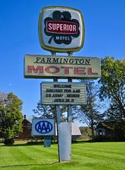 Farmington Motel, Farmington, ME (Robby Virus) Tags: farmington maine me motel superior four leaf clover sign signage aaa