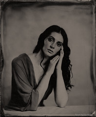 Shari in red dress (patrickvandenbranden) Tags: wetplate alternativeprocess collodion largeformat petzval blackandwhite portrait womanbeauty youngwoman beauty freckles