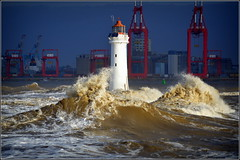 Stormy day at New Brighton Wirral 8th December 2018 (Cassini2008) Tags: newbrightonwirral wildweather perchrocklighthouse lighthouse rivermersey wirral storm waves