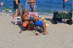 Shirtless old guy in blue (LarryJay99 ) Tags: man men guy guys dude male studly manly dudes handsome people virile beach shore shoreline atlanticocean ocean legs manspreading barfuss barefoot feet toes headtotoe balding sandy shorts shirtless noshirt belly torso