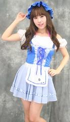 Girl Can Flock (emotiroi auranaut) Tags: girl woman lady beauty beautiful adorable pretty littlebopeep white blue dress bonnet model cute sheep
